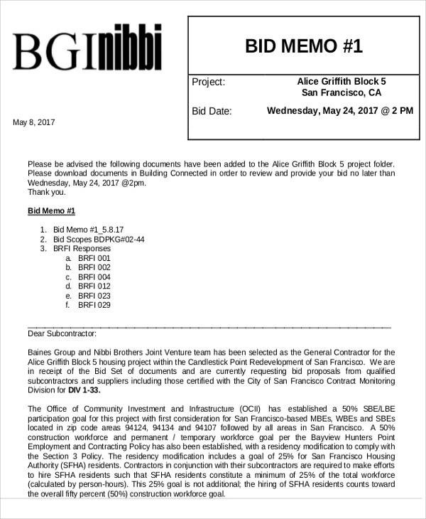 Bid Memo Templates - 8 Examples in Word, PDF - bid proposals