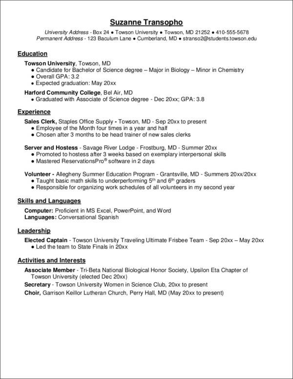 biology resume template
