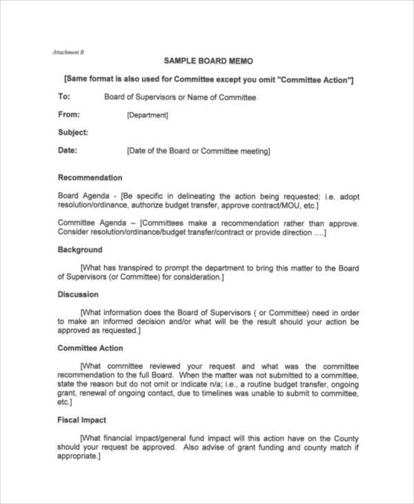 8+ Board Memo Template \u2013 Examples in Word, PDF Sample Templates
