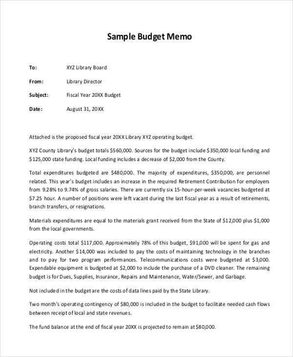 budget memo sample - Canasbergdorfbib
