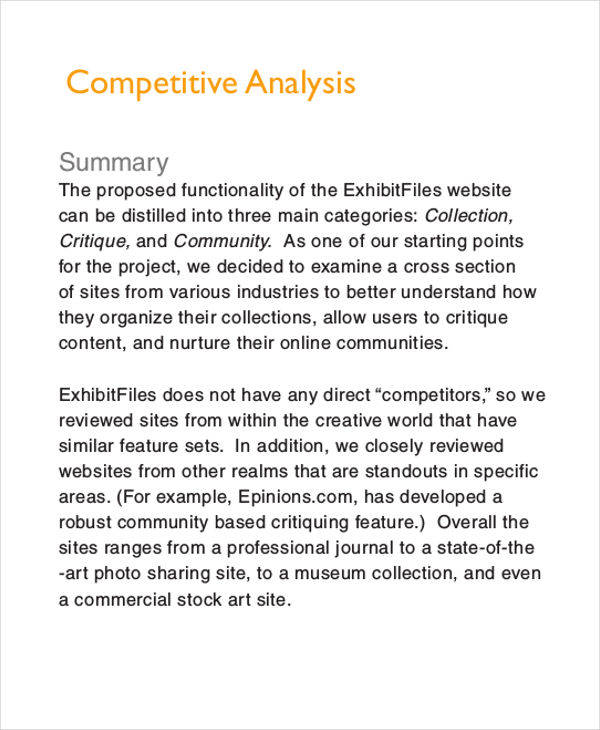 ... Competitive Analysis Sample Competitive Analysis Example   Marketing Competitor  Analysis Template ...