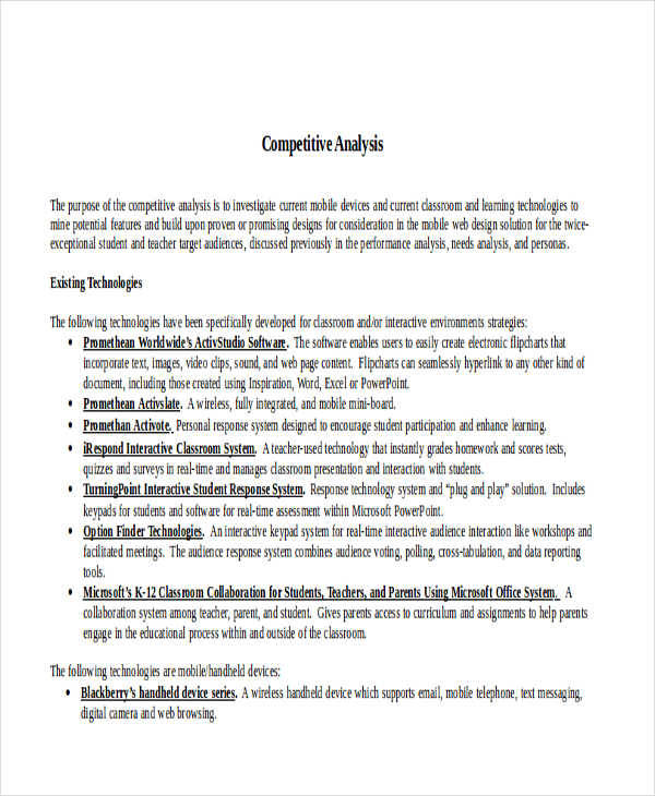 7+ Competitive Analysis \u2013 Examples in Word, PDF Sample Templates
