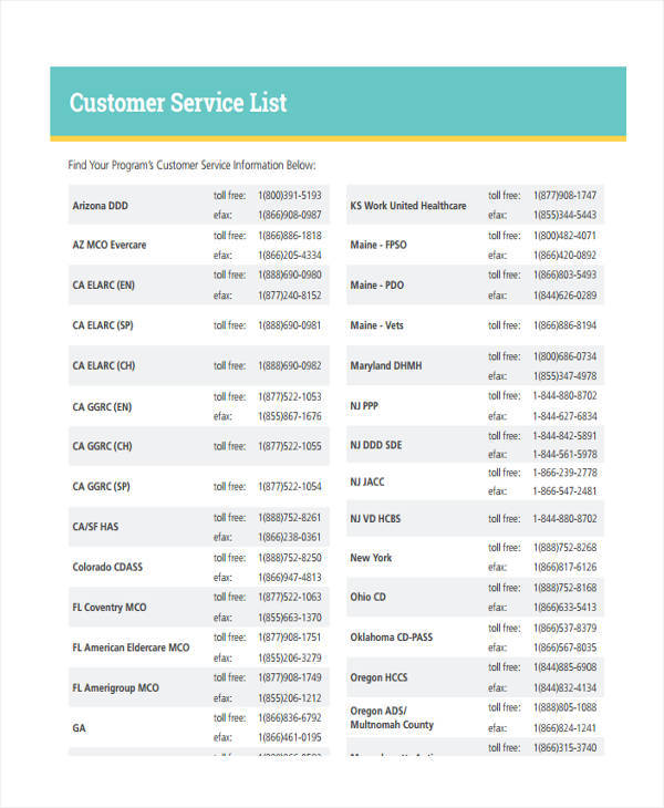 7+ Service List Sample - Free Sample, Example, Format Download