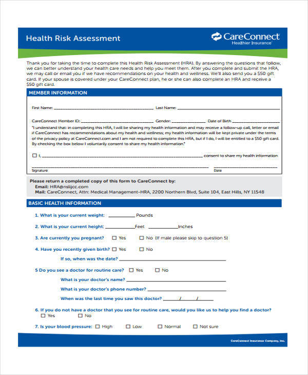 37 Risk Assessment Forms Sample Templates