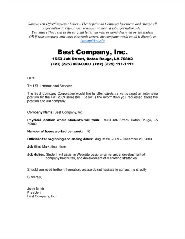 Offer Acceptance Letters Official Offer Acceptance Letter