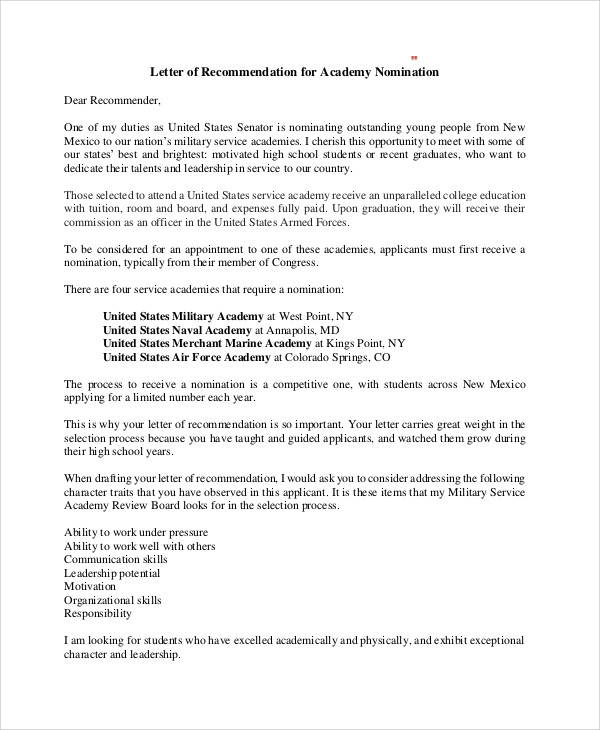 7+ Sample Military Recommendation Letter Samples  Templates - PDF, DOC