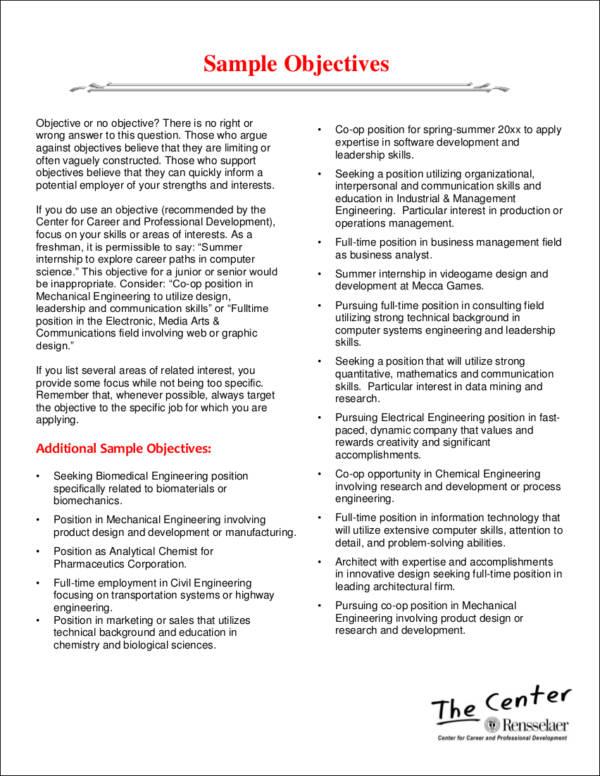career objective in resume
