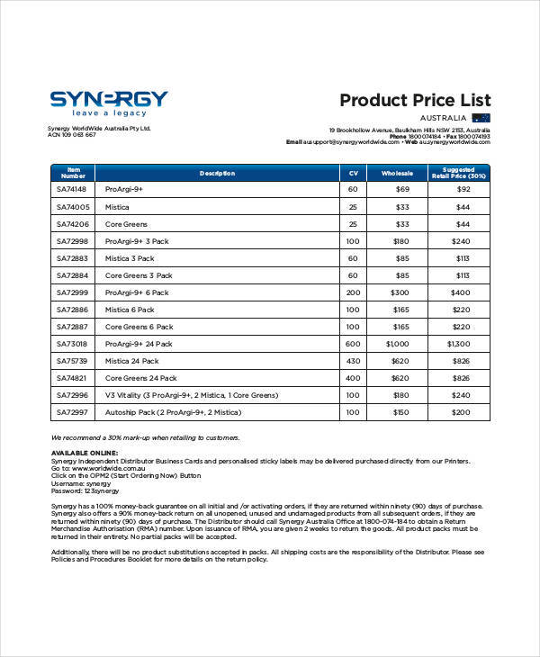 45 Price List Samples  Templates Sample Templates - price list templates