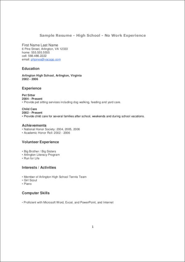 resume template for teenager with no experience