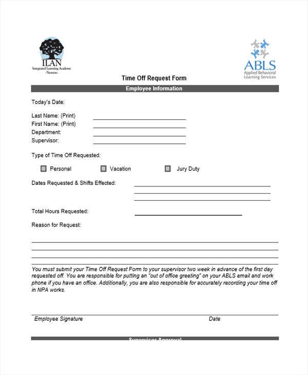 Sample Time Off Request Form cvfreepro - sample time off request form