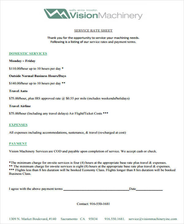 Rate Sheet Templates - 12+ Examples in PDF - rate sheet template