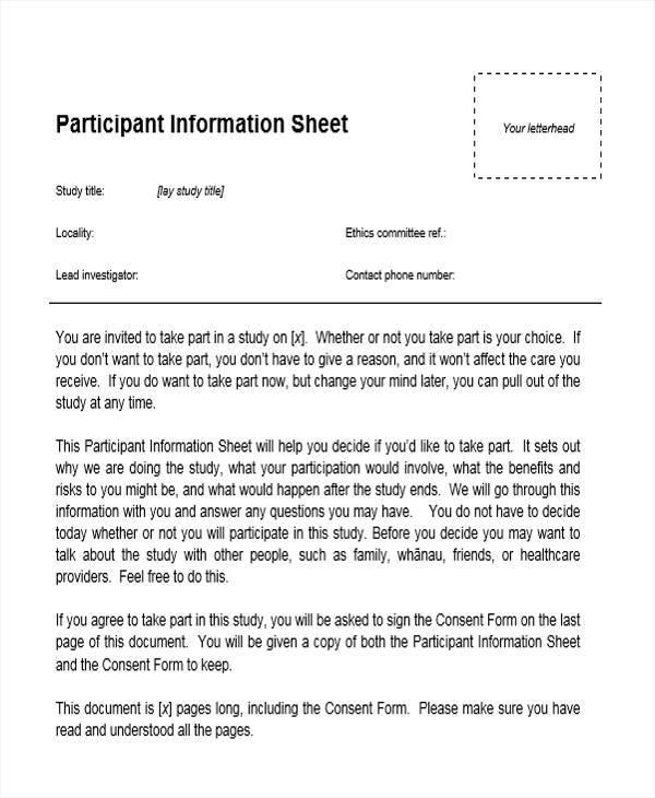 12 Information Sheet Samples  Templates Sample Templates