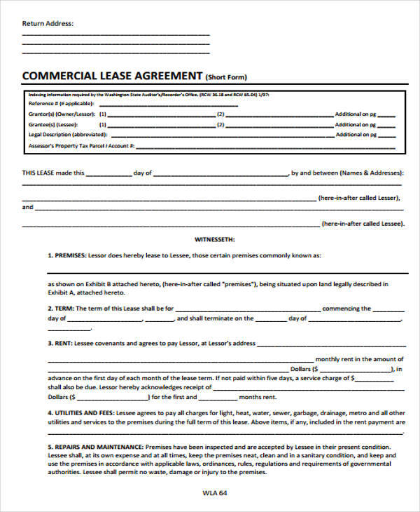 36 Free Lease Agreements Sample Templates - simple commercial lease agreement