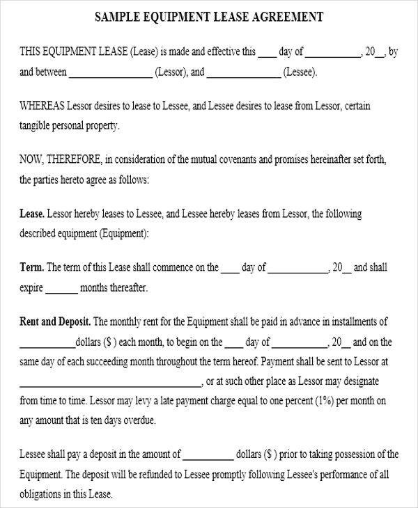 38+ Lease Agreement Forms - sample equipment rental agreement