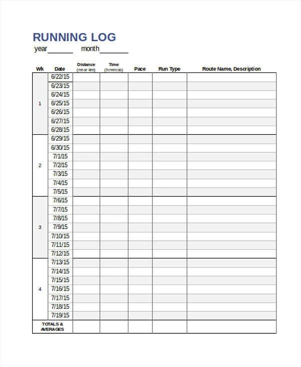 10+ Running Log Templates - Free Sample, Example, Format Download