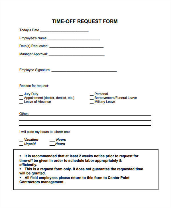 25 Time Off Request Forms in PDF Sample Templates - request for time off form