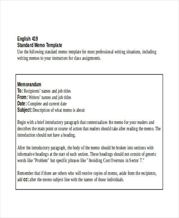 Modern Standard Memo Template Image - Resume Ideas - bayaarinfo