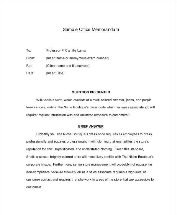 interoffice memo sample format – Interoffice Memos