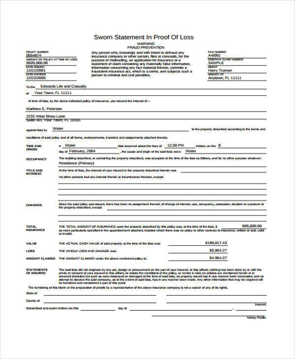 32 Sworn Statement Templates Sample Templates