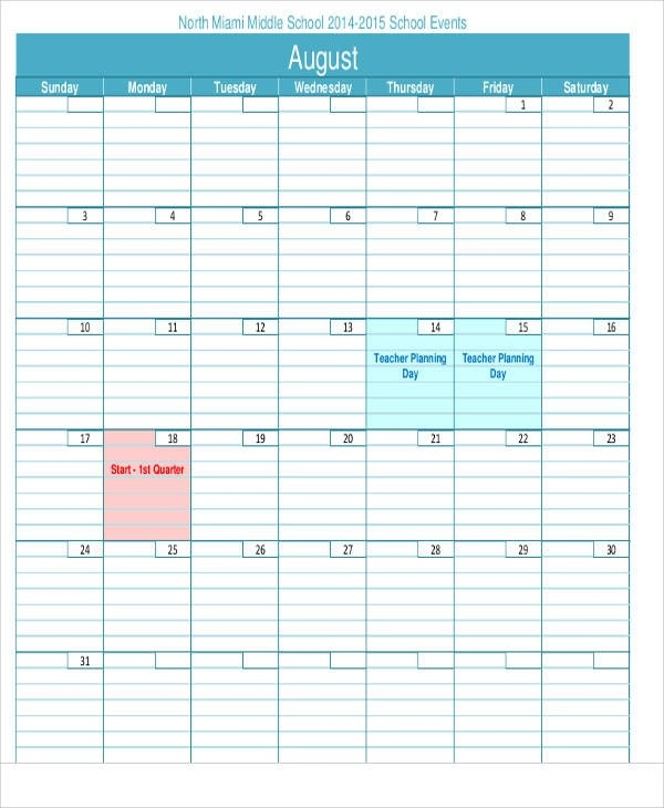 27 Blank Calendar Templates Sample Templates - teachers planning calendar