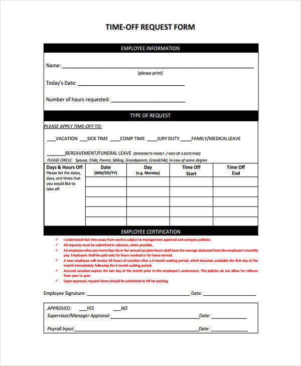 Request Off Form. sample vacation request form - 11+ free ...