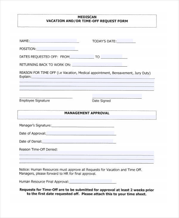 13+ Free Time Off Request Forms - time off request forms