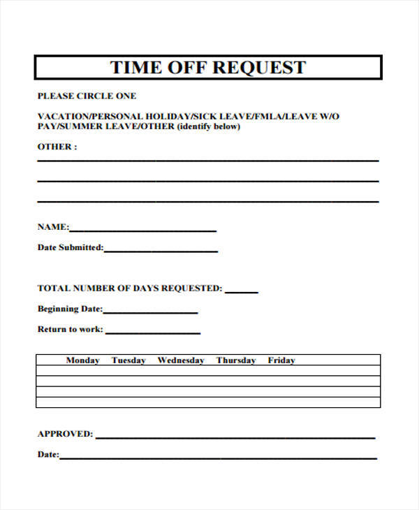 time off request templates