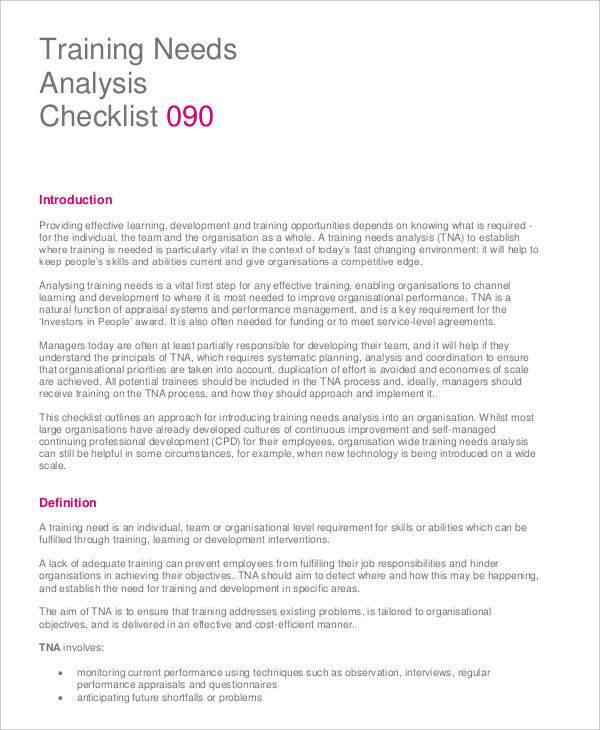 ... 9 Needs Analysis   Free Sample, Example, Format Download   Needs  Analysis ...