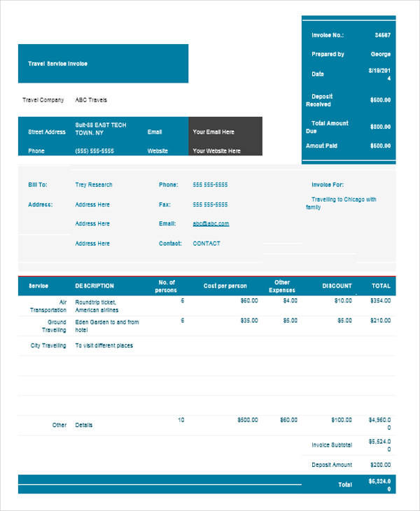 7+ Travel Invoice Samples \u2013 Examples in PDF, Word Sample Templates