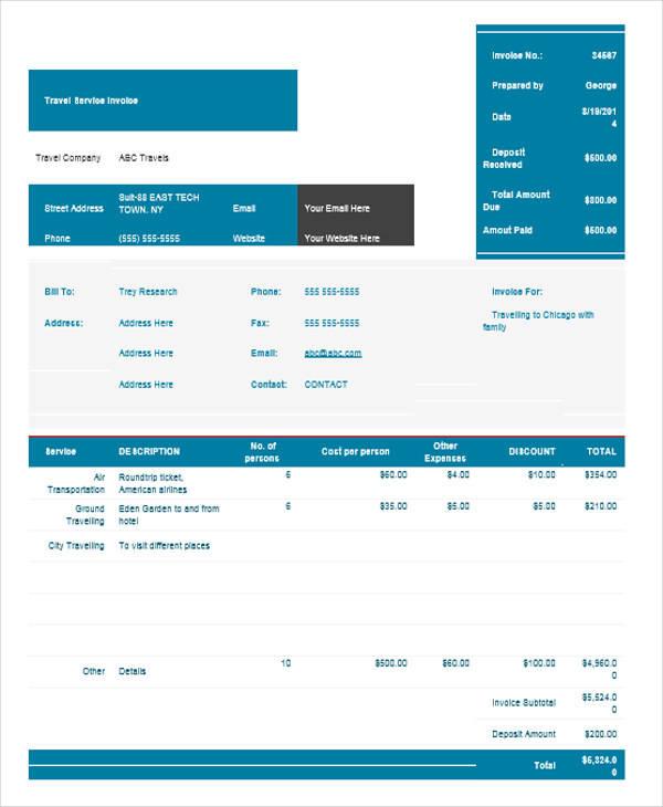 travel receipt template