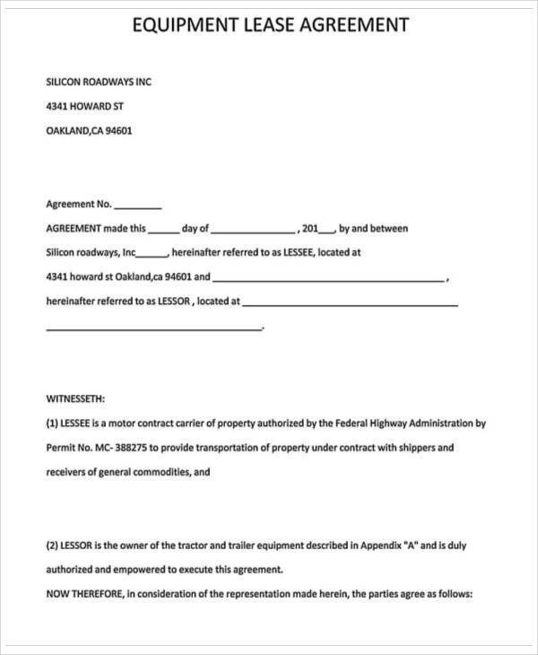 27 Lease Agreement Samples Sample Templates - truck lease agreement