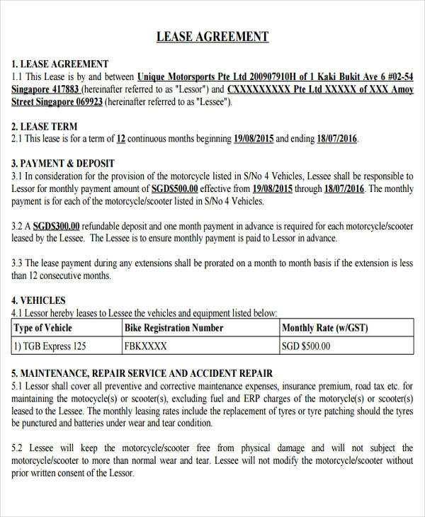 Sample vehicle lease agreement 958075 - metabo01info