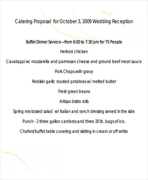 6+ Catering Proposal Templates - Free Samples, Examples, Formats - sample catering proposal template