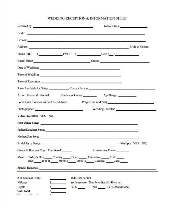 Vendor Information Sheet Template Gallery - Template Design Ideas - information templates
