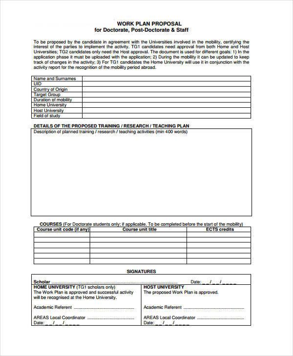 9+ Work Proposals \u2013 Free Sample, Example, Format Download Sample - work proposal