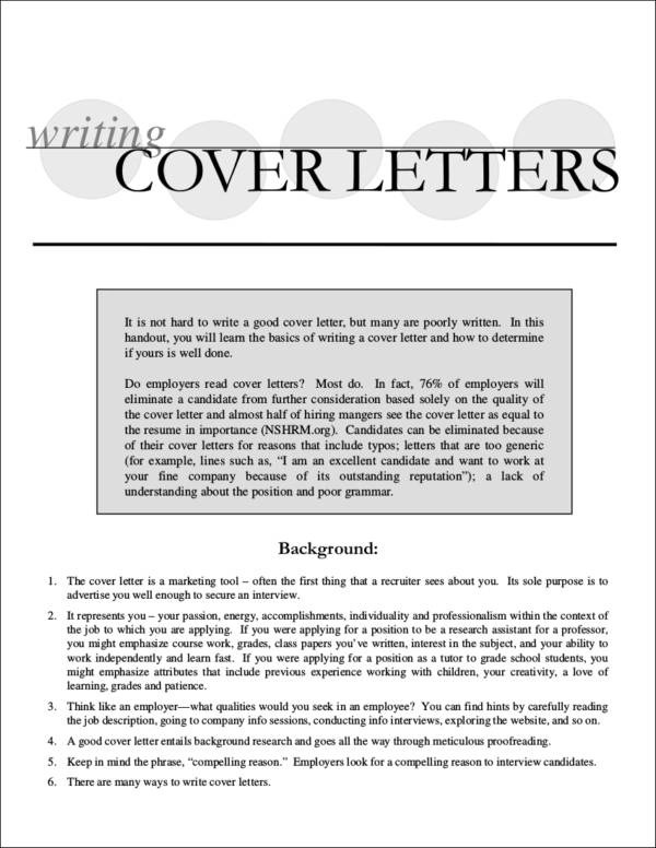 Quick Tips to a Standout Cover Letter Sample Templates - writing a cover letter