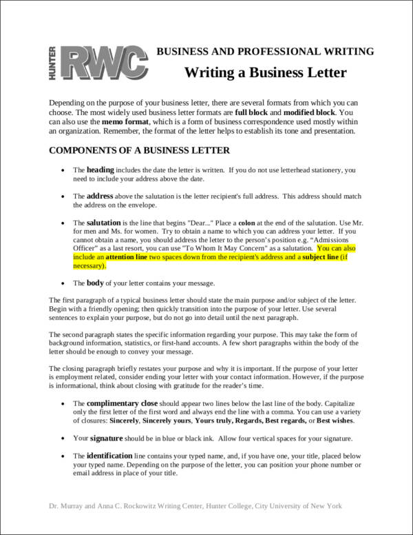 Proper Business Letter Format Sample Templates