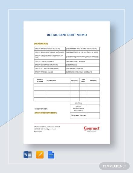 Debit Memo Template - 10+ Examples in Word, PDF