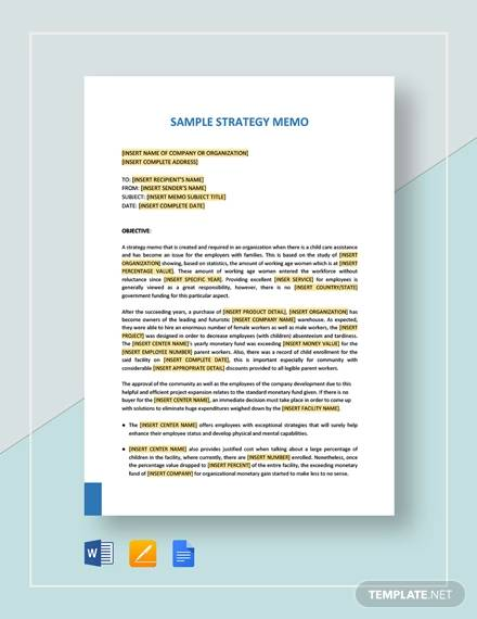 Strategy Memo - 10+ Examples in Word, PDF, Google Docs