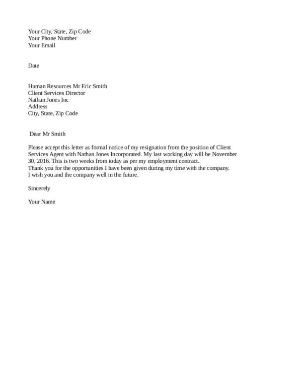 Quick Tips in Writing a Resignation Letter Sample Templates - basic resignation letter