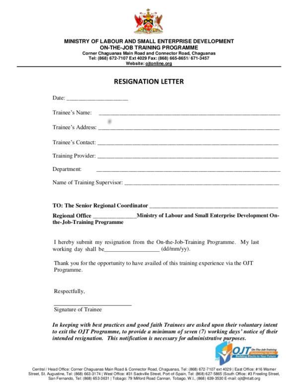 33 Printable Resignation Letter Samples  Templates Sample Templates - letter of good faith