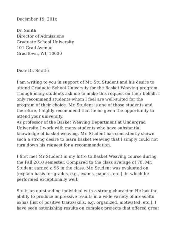 writing recommendation letter for graduate school