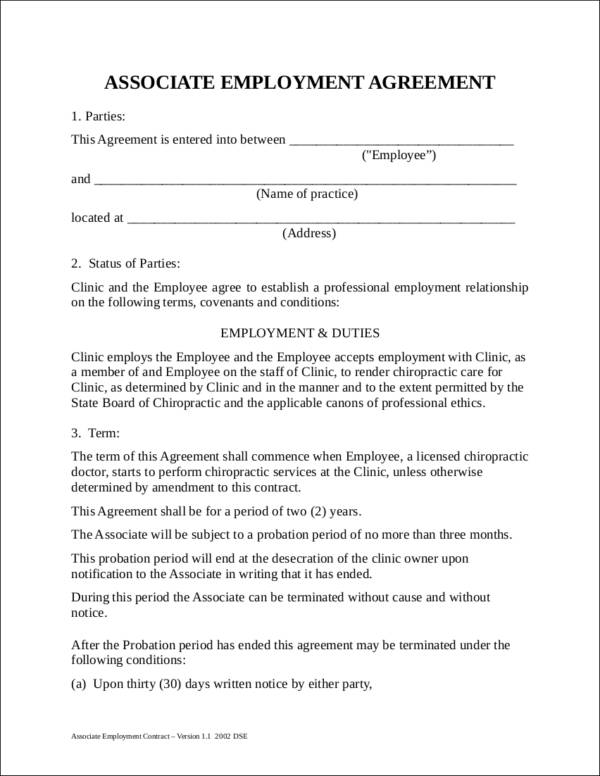 Dentist Employment Agreement Sample Manager Employment Contract - job agreement contract