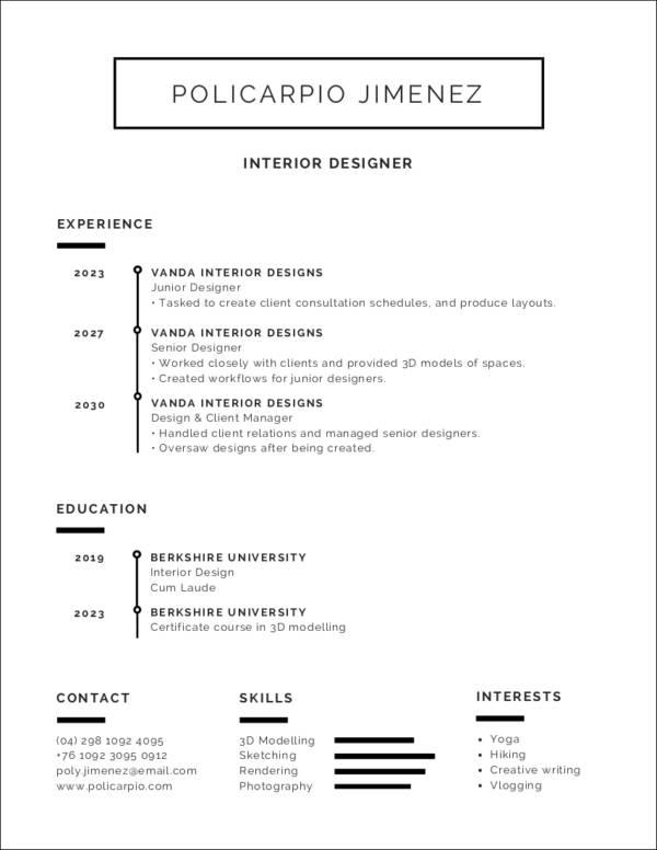 very minimalist resume template