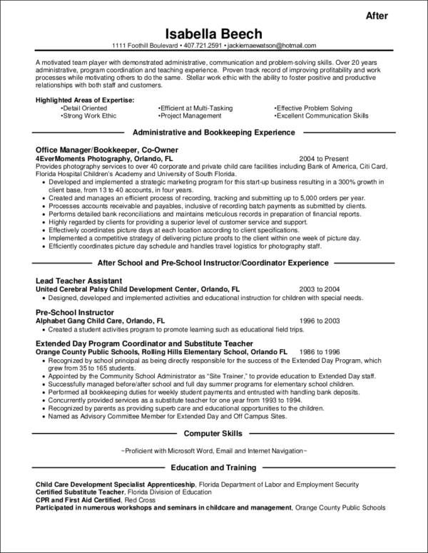 sample resumes for teachers changing careers