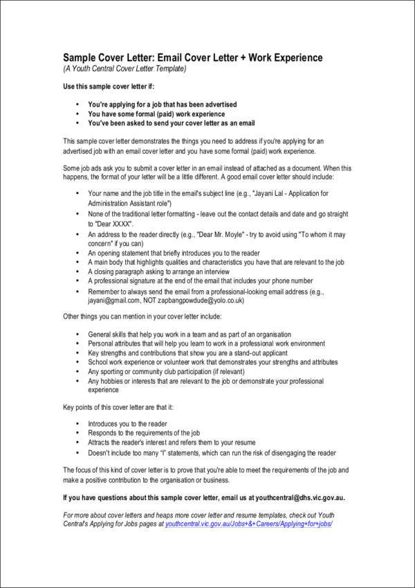 Cover Letters for Job Applications Sample Templates - what a cover letter should include