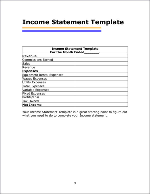 What Is in an Income Statement? Sample Templates - income statement inclusions