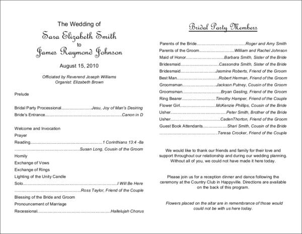 What to Include in Your Wedding Program Sample Templates - wedding program inclusions