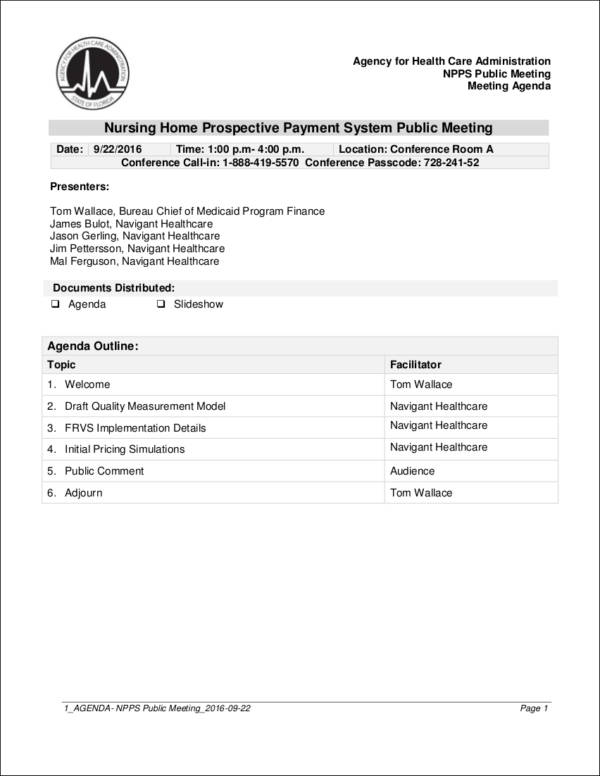 Dos and Don\u0027ts of Meeting Agendas Sample Templates