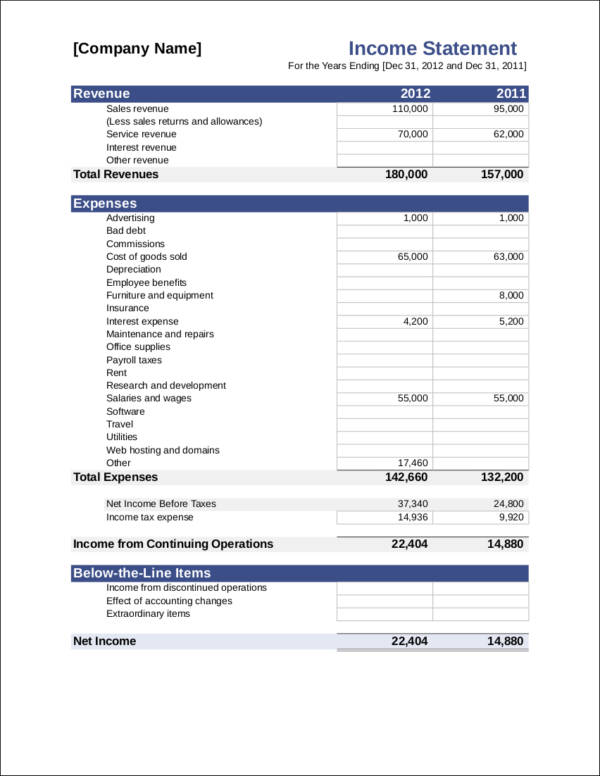 What Is in an Income Statement? Free PDF Samples - income statement inclusions